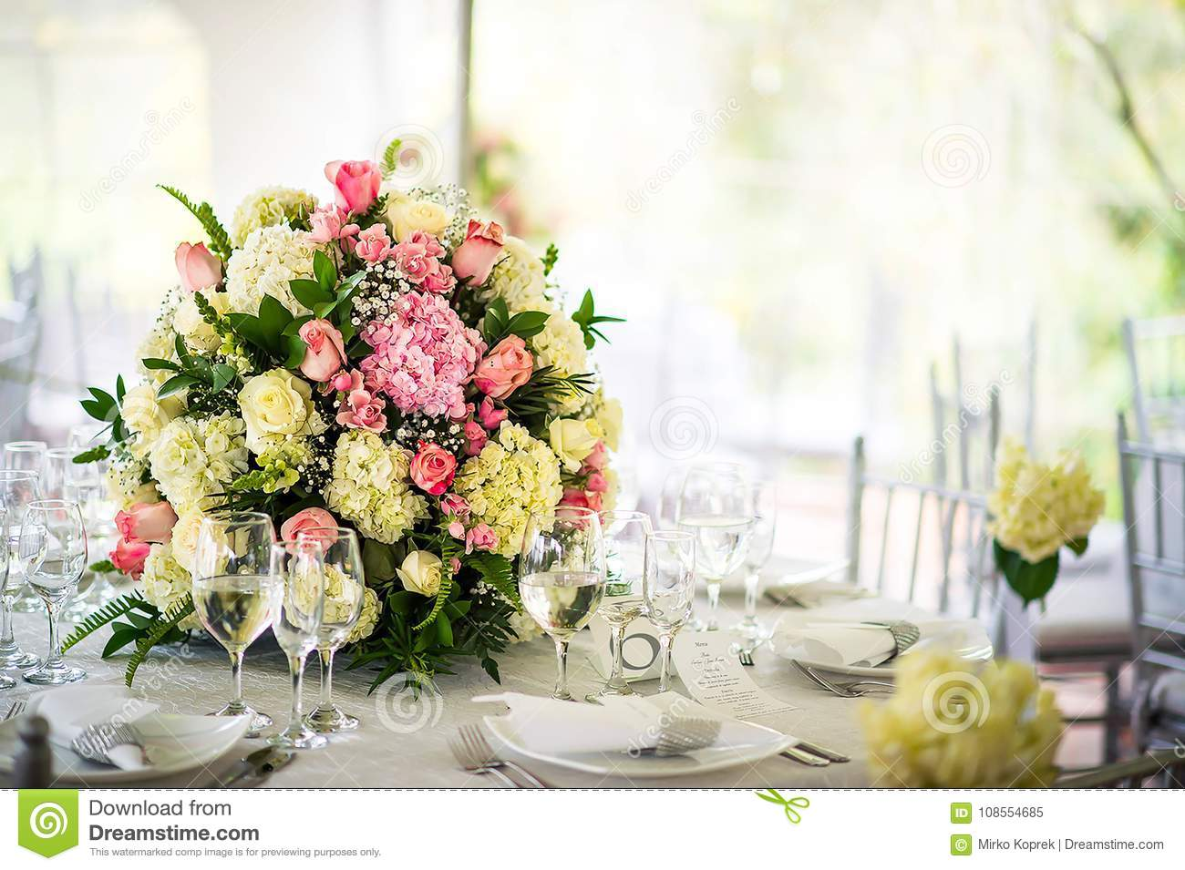 Beautiful Wedding Decoration On The Table Floral Arrangements And