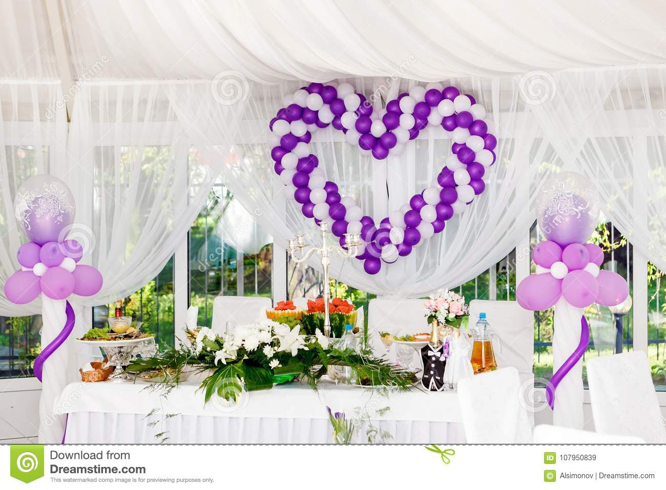 Beautiful Wedding Decorations. Heart Of White And Purple Balloons On ...