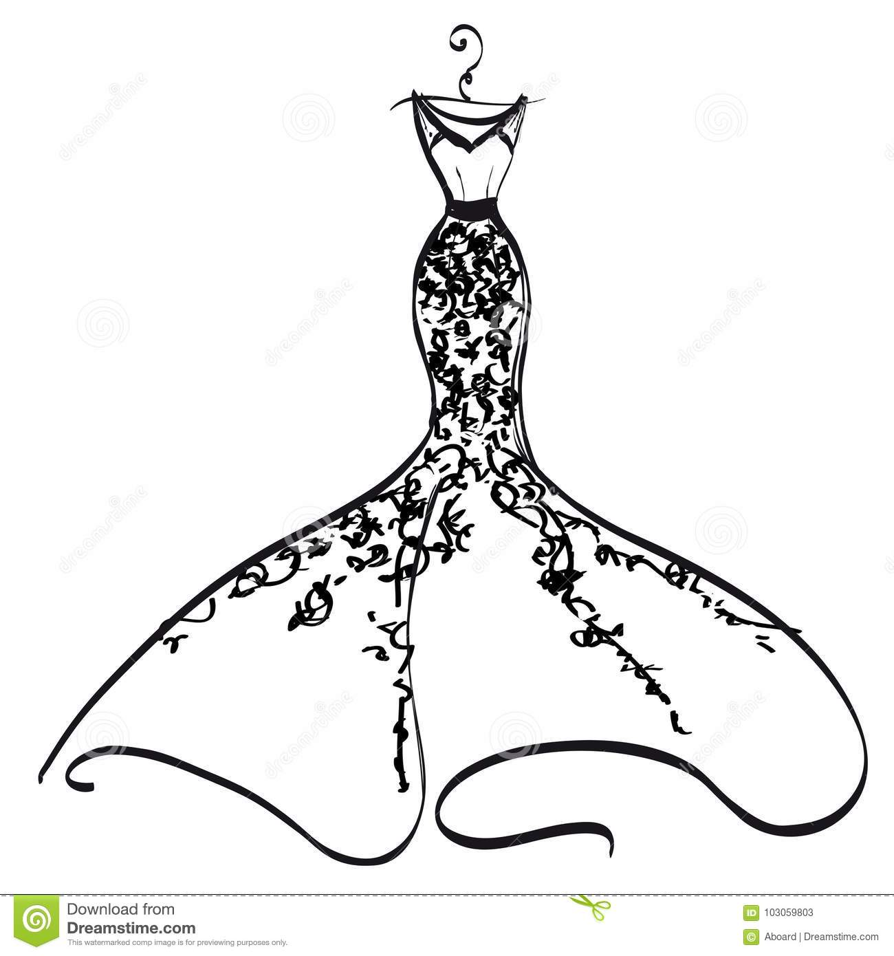 Design A Wedding Dress.Wedding Dress Design Black And White Stock Vector