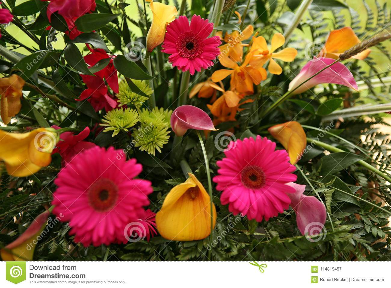 Beautiful Wedding Flower Arrangement Of Colorful Flowers Stock Image