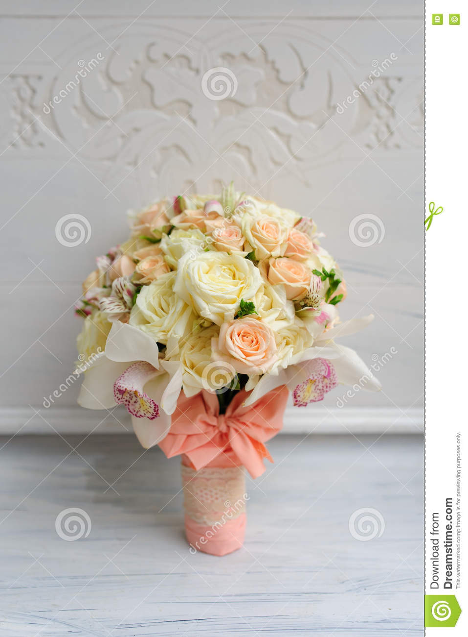 Beautiful Wedding Flower Bouquet For Bride Stock Image - Image of ...
