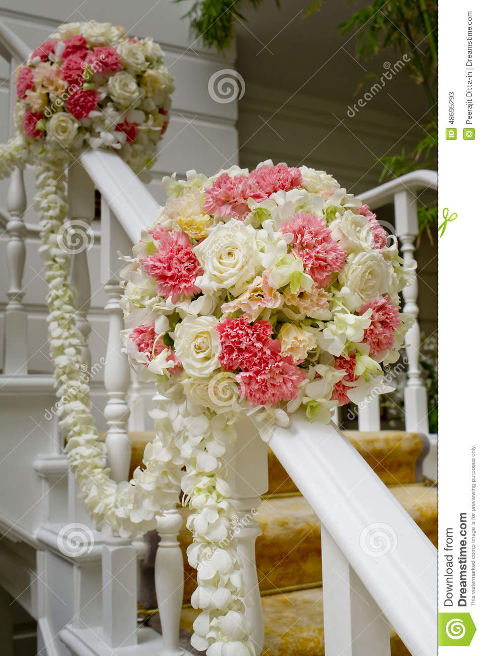 beautiful wedding flower decoration at stairs royalty free stock photo 48695283. Black Bedroom Furniture Sets. Home Design Ideas