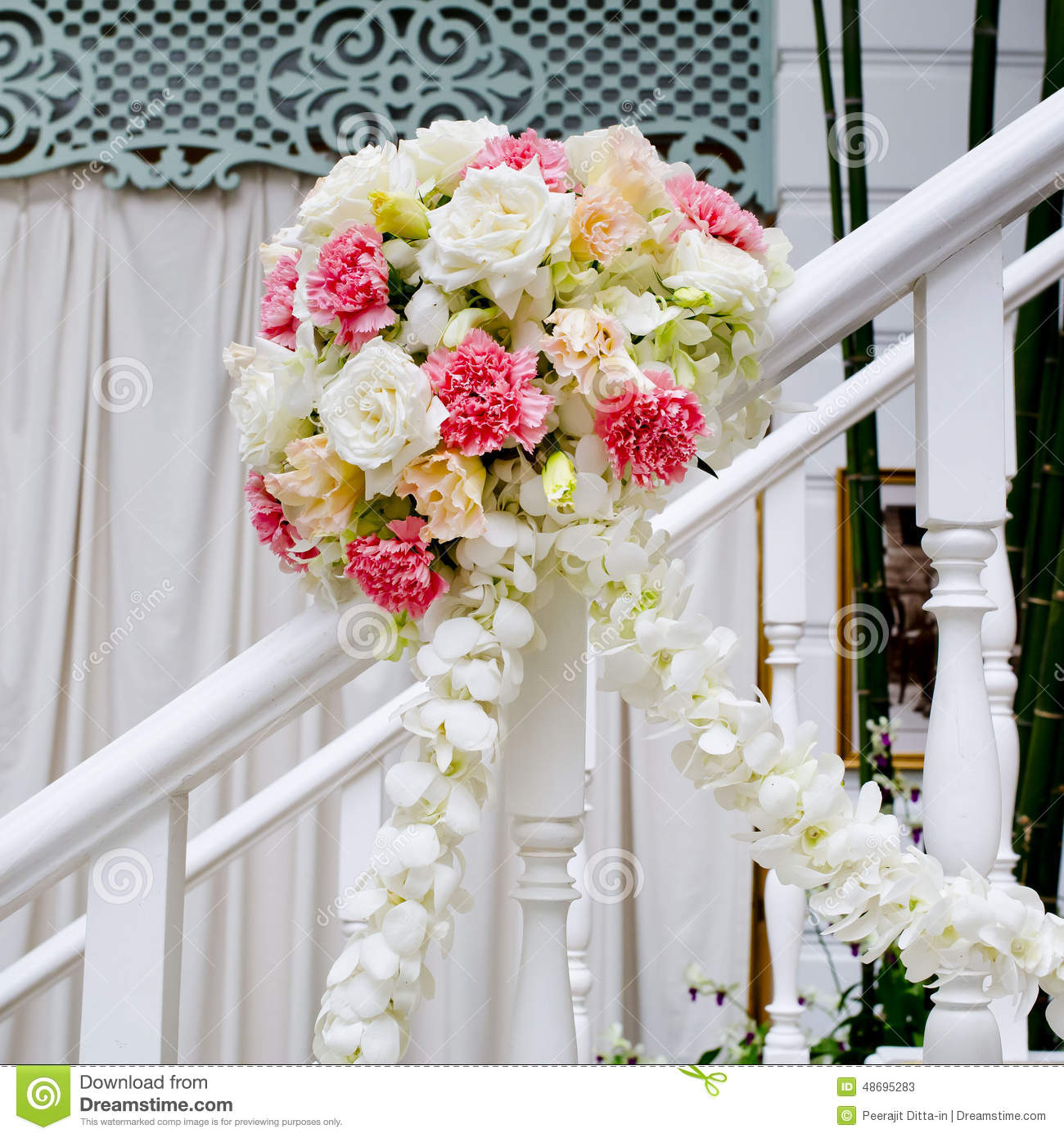 Beautiful Wedding Flower Decoration At Stairs Stock Photo