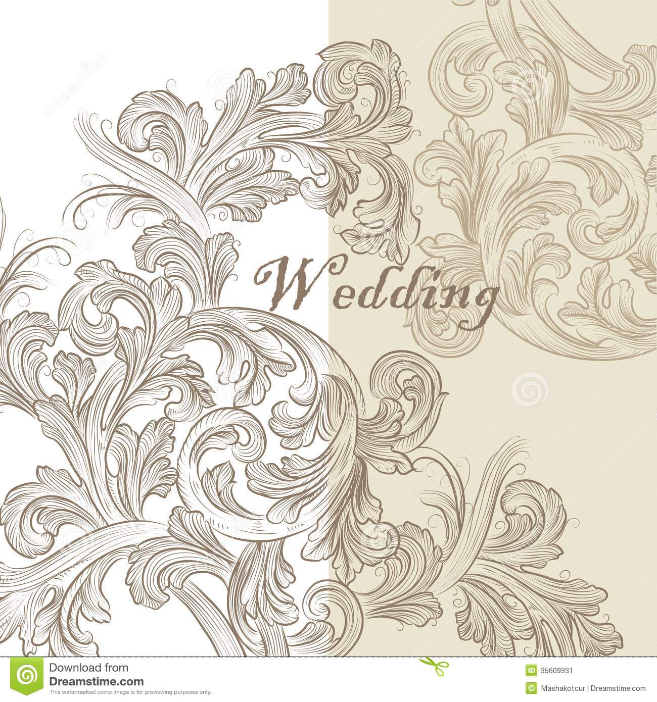 Wedding Card Line Art Designs : Beautiful wedding invitation card for design stock vector