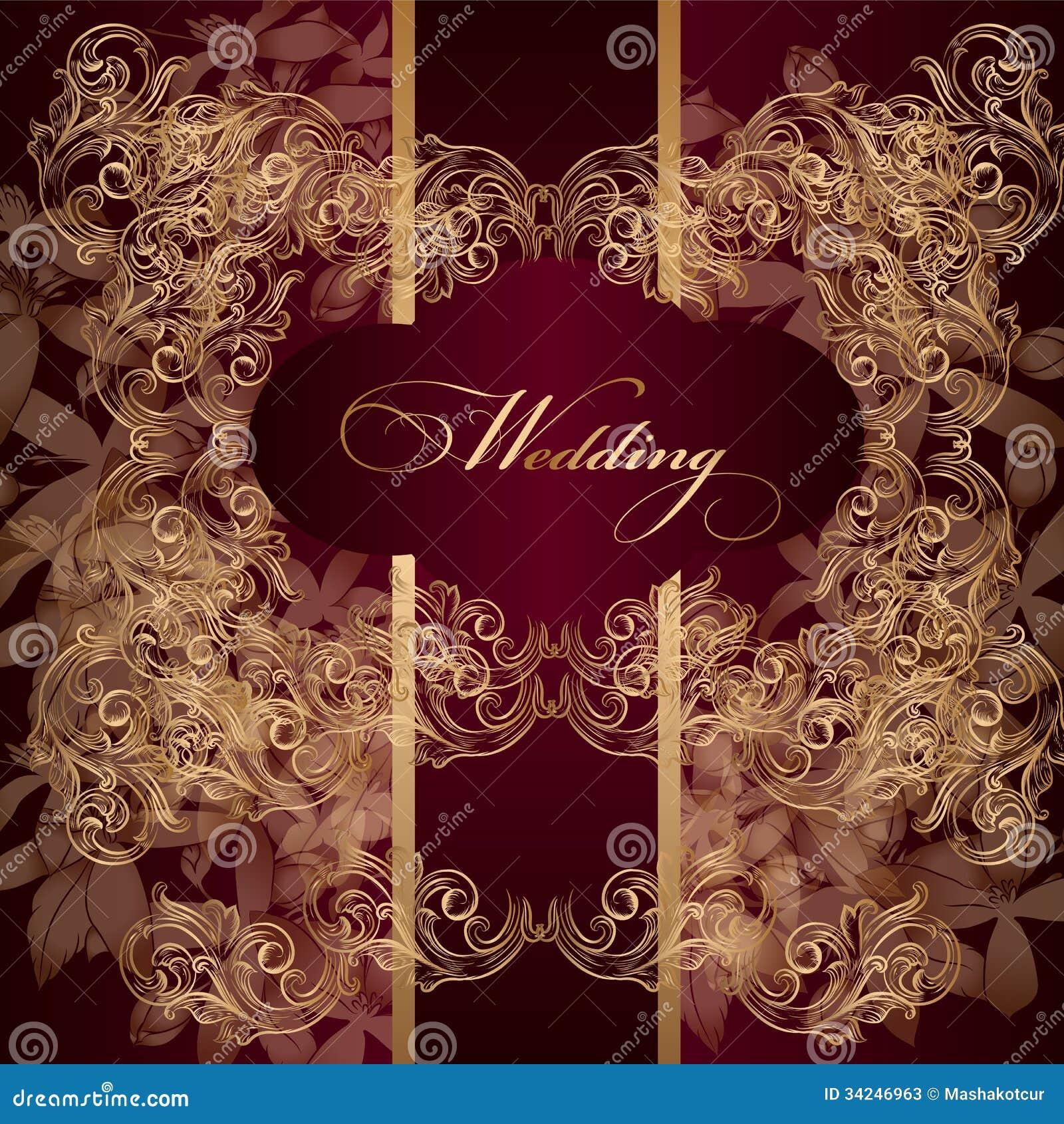 Beautiful Wedding Invitation Card In Luxury Style Stock Photos