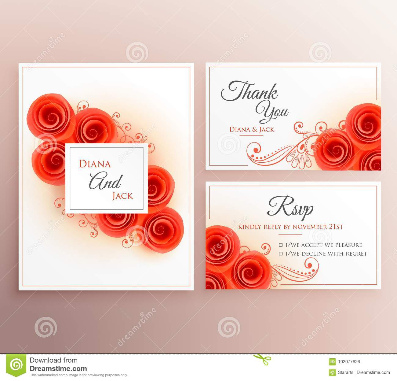 Beautiful Wedding Invitation Card With Rose Flower Template Stock ...