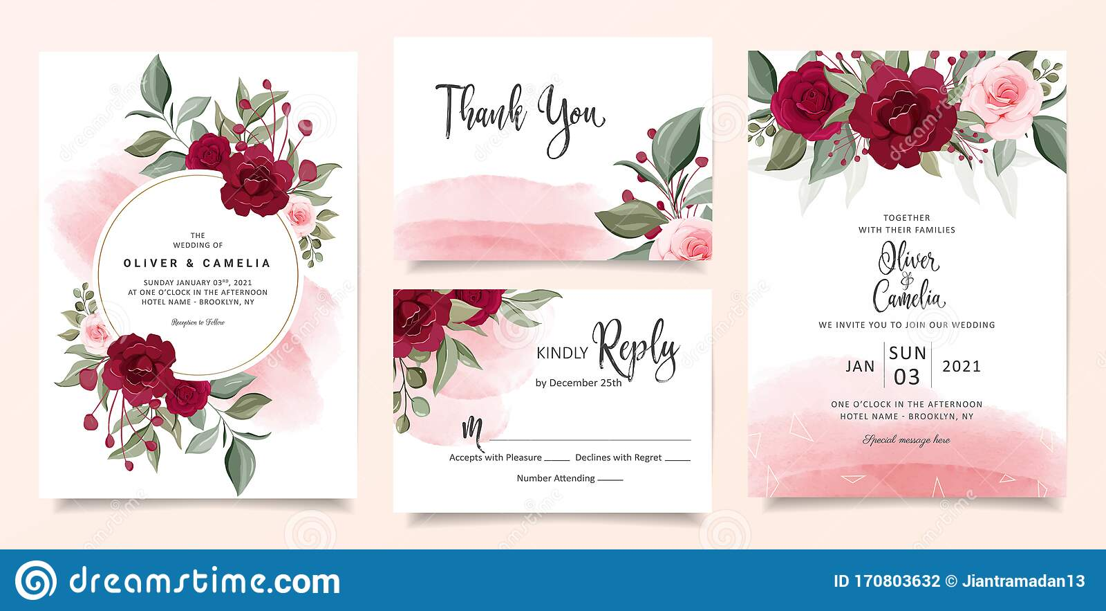 beautiful wedding invitation card template set with