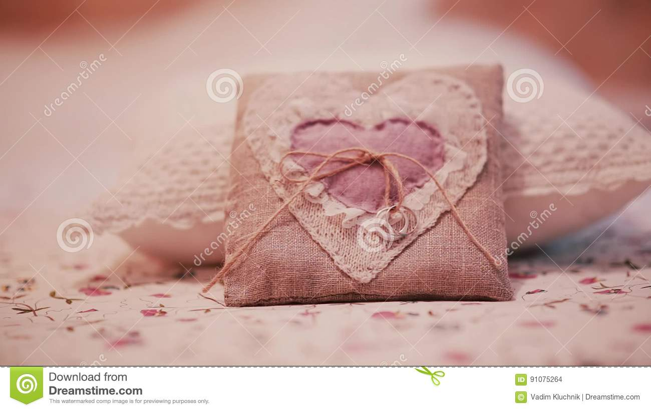 Beautiful Wedding Rings On A Little Pillow. Preparation For Ceremony ...