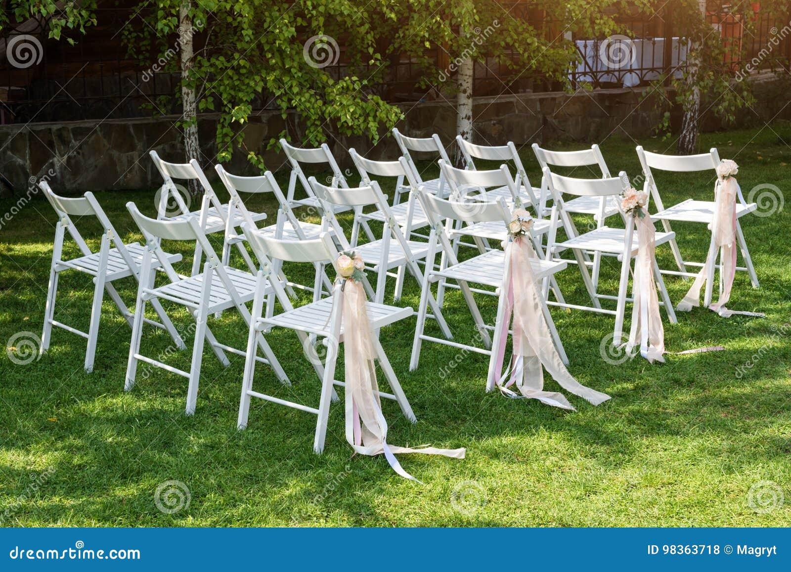 Beautiful Wedding Set Up. Wedding Ceremony In The Garden. White