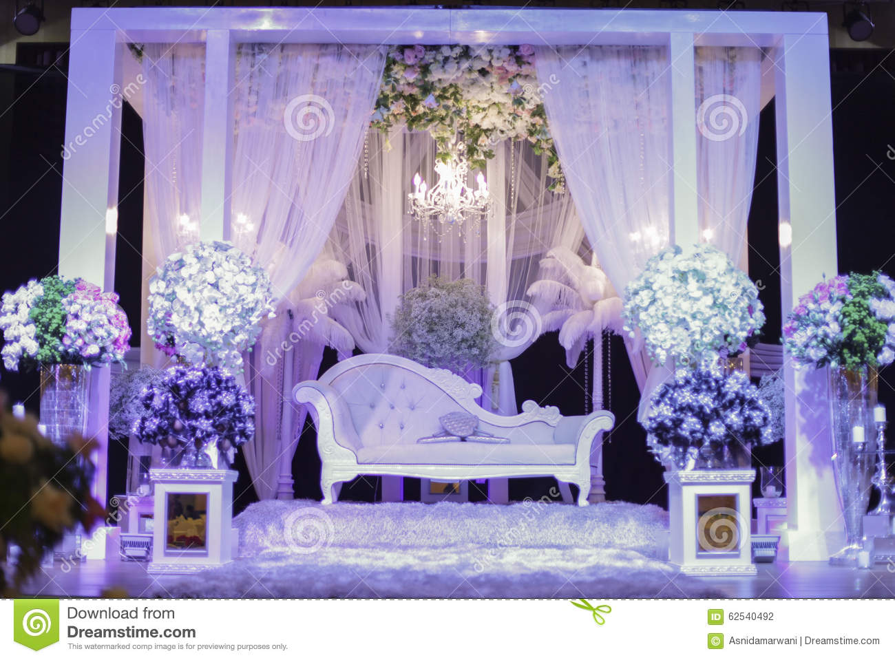 Beautiful Wedding Stage With Purple Light Shallow Dof