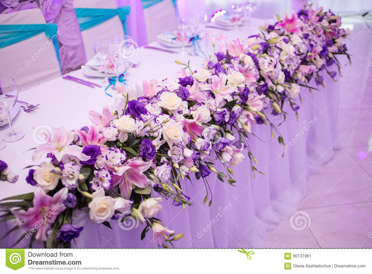 Beautiful Wedding Table With Flower Decoration Stock Image