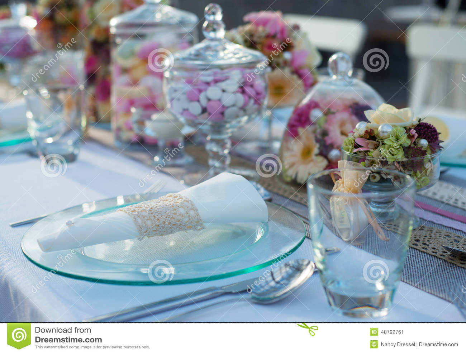 Beautiful Wedding Table Set Stock Photo Image 48792761