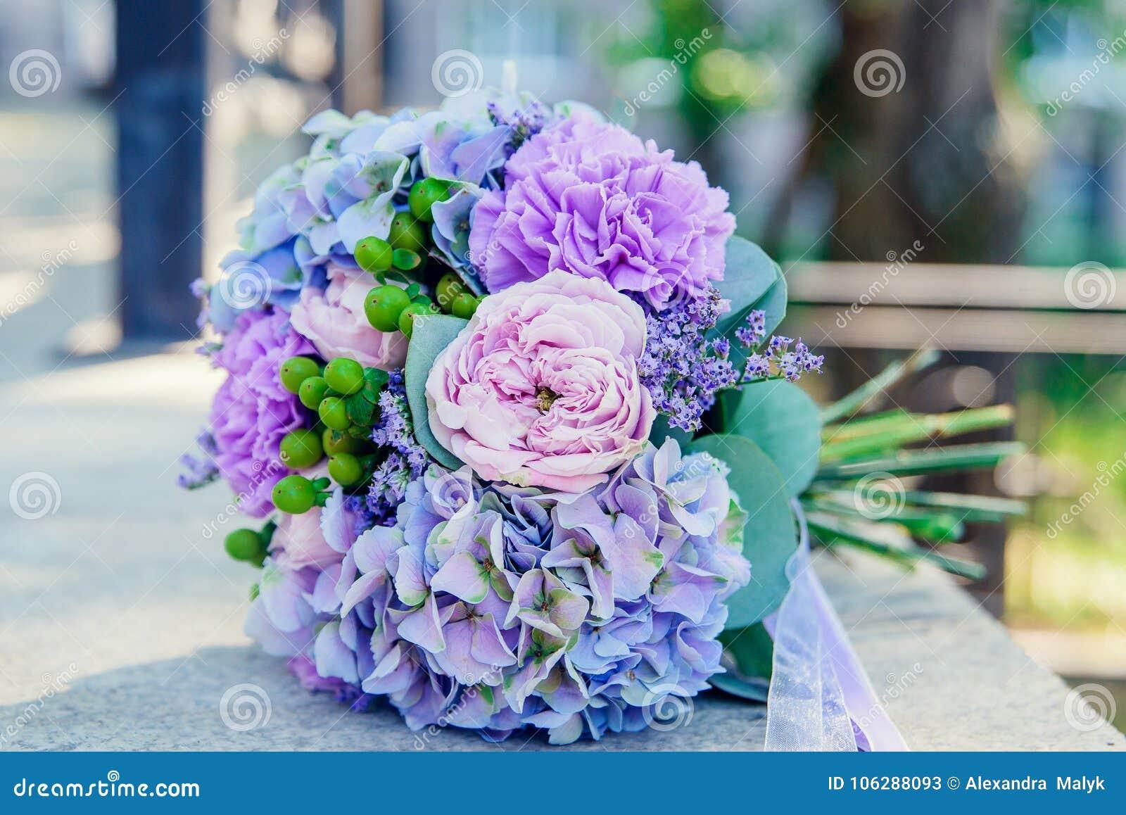 Beautiful White Blue Bridal Bouquet Stock Image Image Of