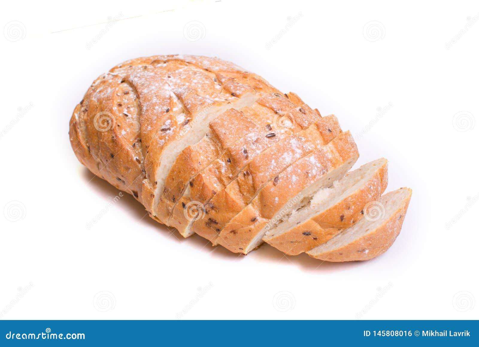 Сrispy healthy white bread. Isolated.