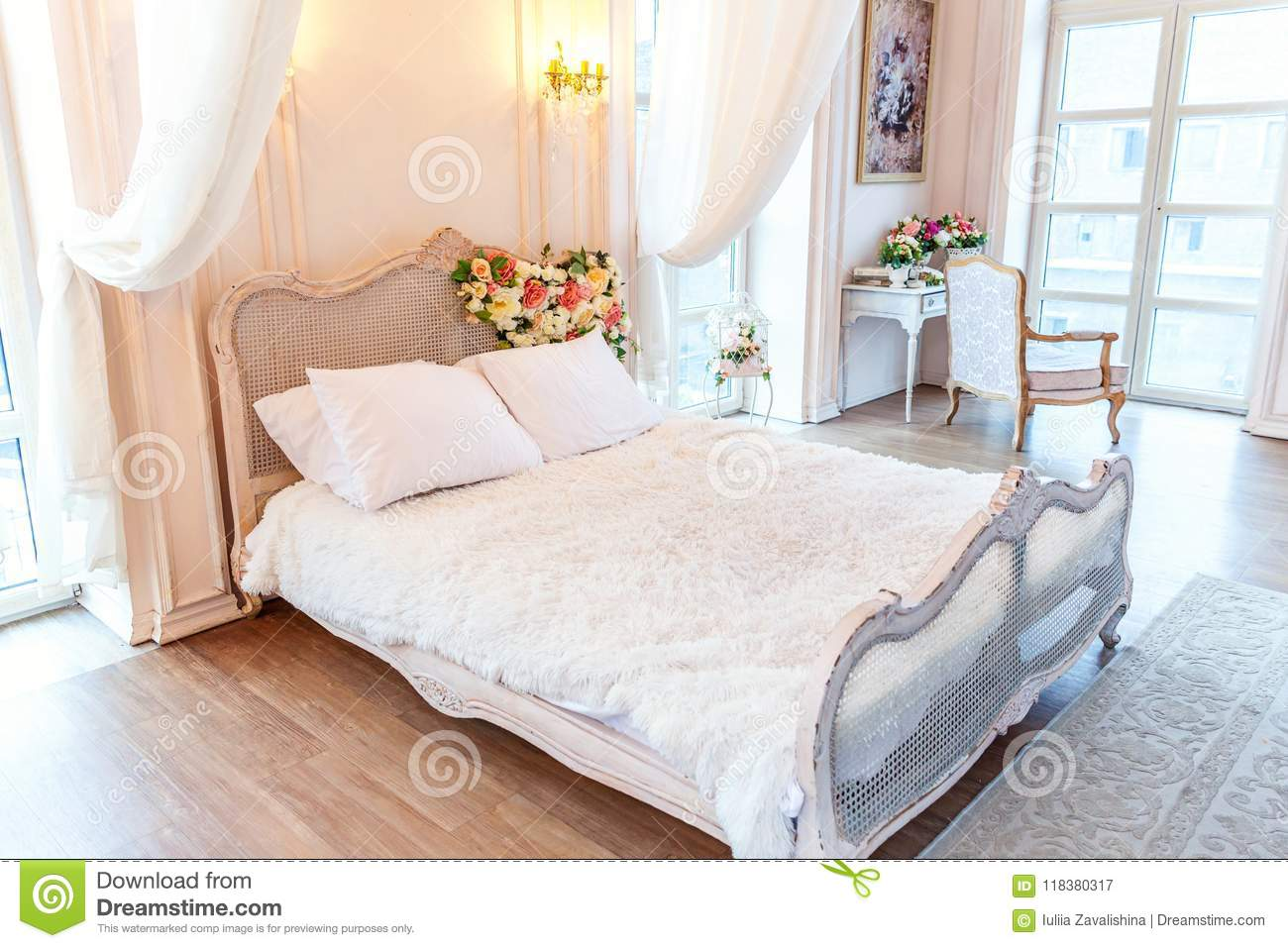 Wondrous Beautiful White Bright Clean Interior Bedroom In Luxurious Home Interior And Landscaping Staixmapetitesourisinfo