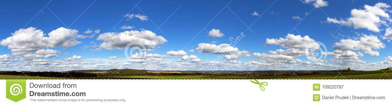 Beautiful clouds on sky, panoramic view