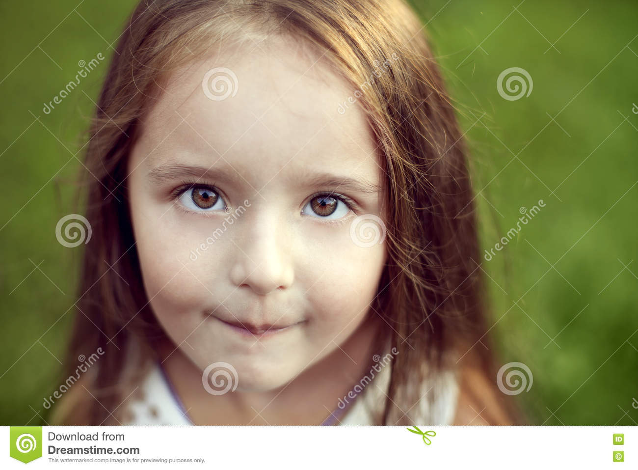 Beautiful white girl with long hair and hazel big eyes looking s