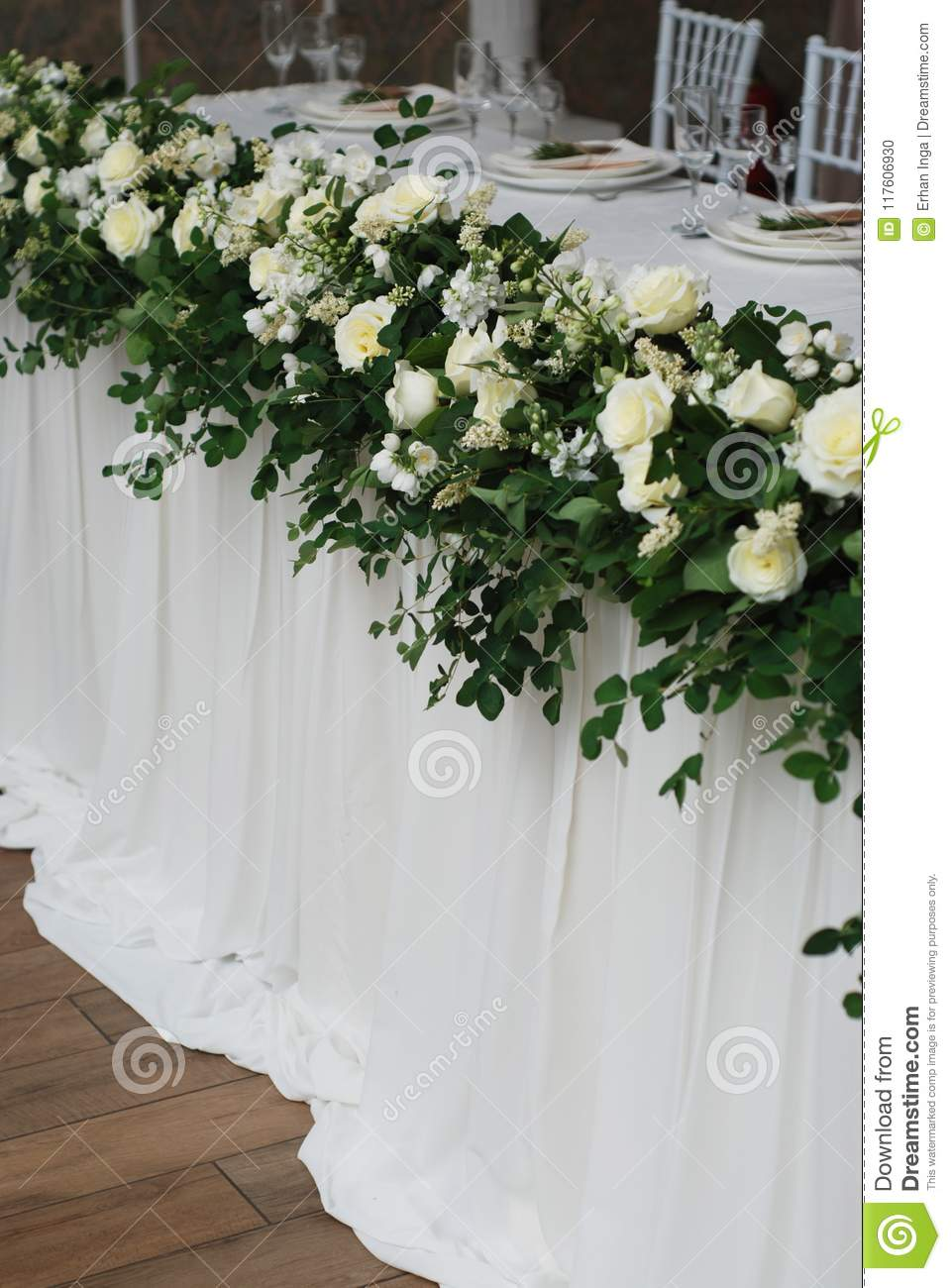 Beautiful White And Green Flower Decoration Arrangement On Wedding