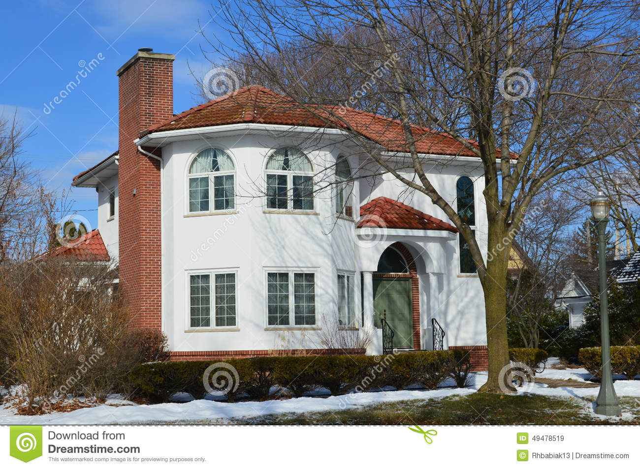 Beautiful White House In Winter Stock Image Image Of