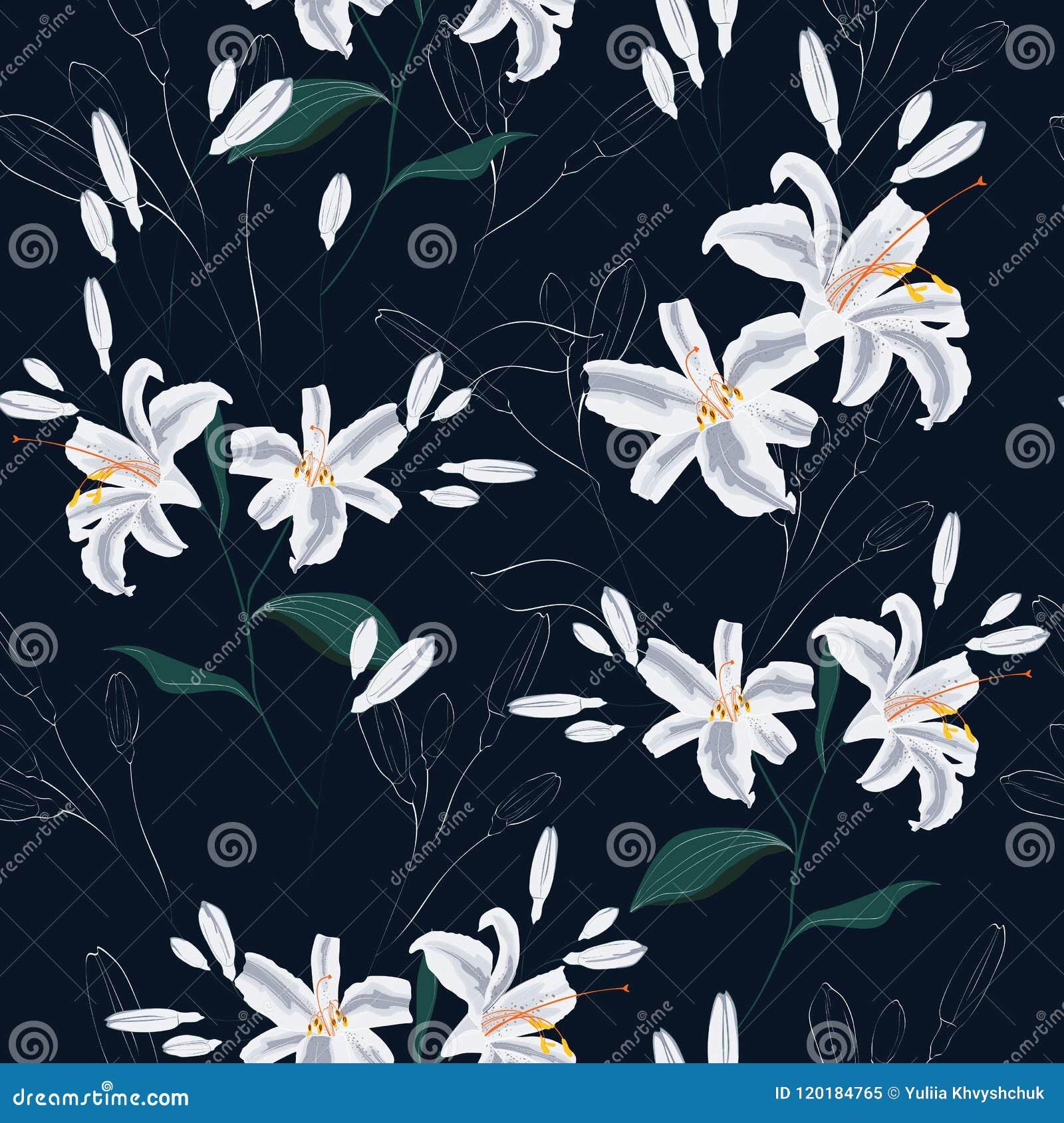Beautiful white lilies flowers seamless pattern on black background beautiful white lilies flowers seamless pattern on black background izmirmasajfo
