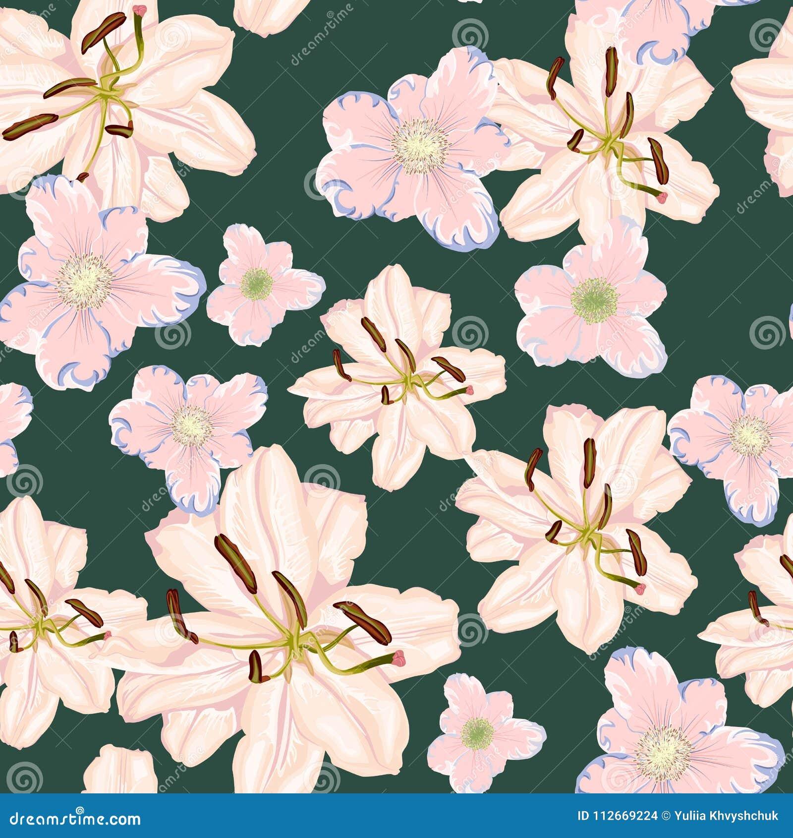 Beautiful white lilies flowers seamless pattern on black background download beautiful white lilies flowers seamless pattern on black background vector illustration stock izmirmasajfo