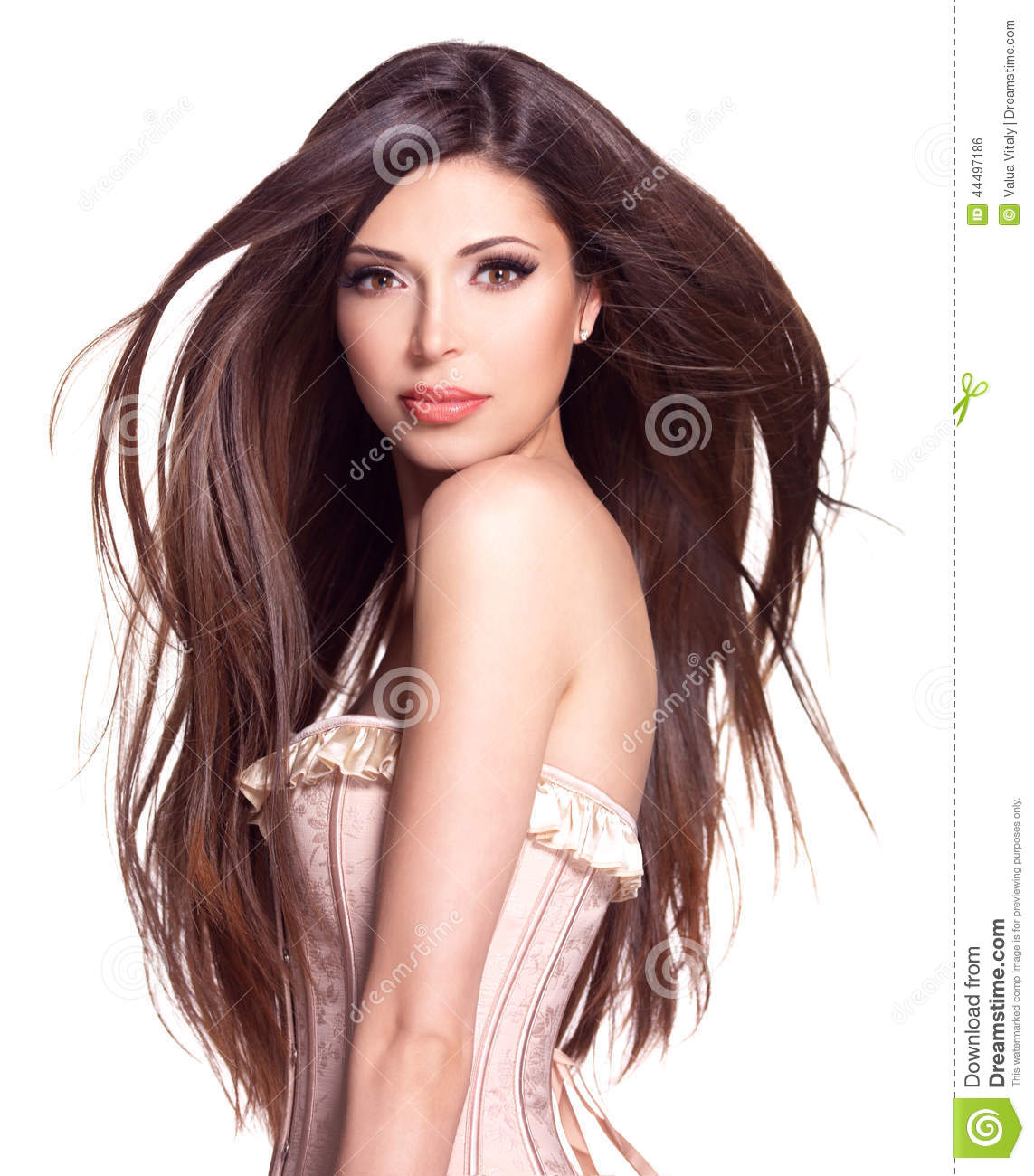 Beautiful white pretty woman with long straight hair