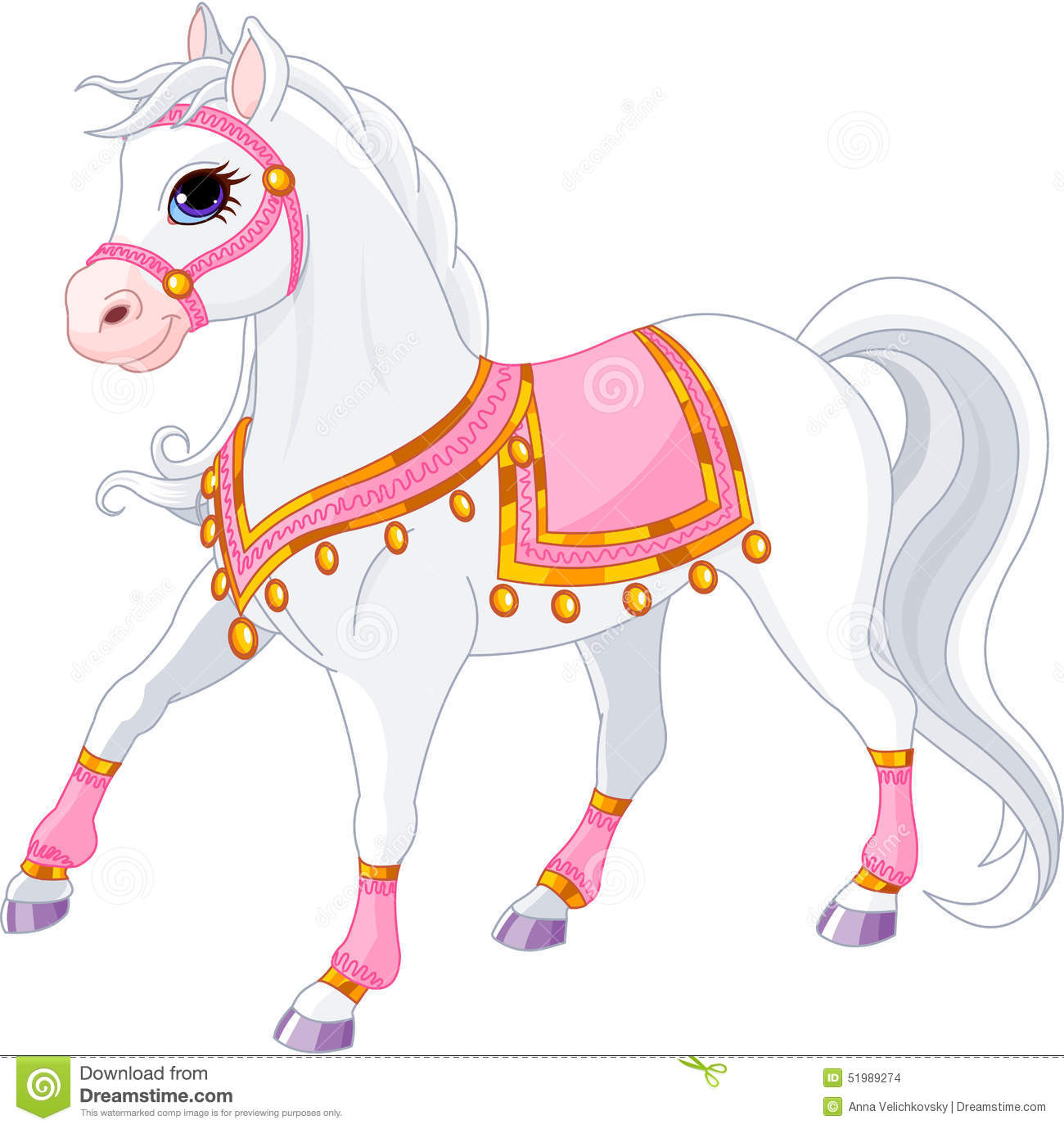 Beautiful White Royal Horse Stock Vector Illustration Of