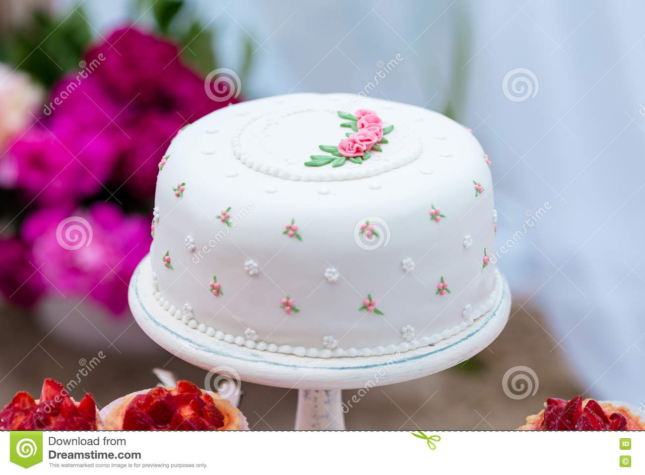 Beautiful White Wedding Cake With Flowers Outdoor Shabby Chic Style