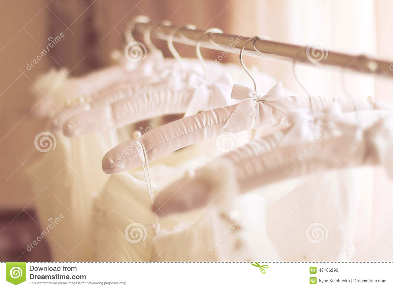 Beautiful White Wedding Dresses Made Of Silk On Hangers Stock Photo Image 47166299