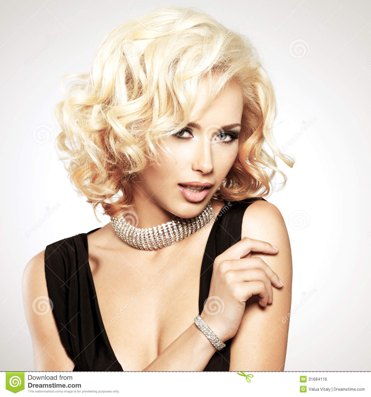 Beautiful White Woman With Curly Hairstyle Royalty Free
