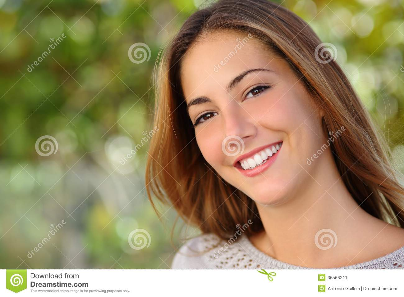 Beautiful white woman smile dental care concept
