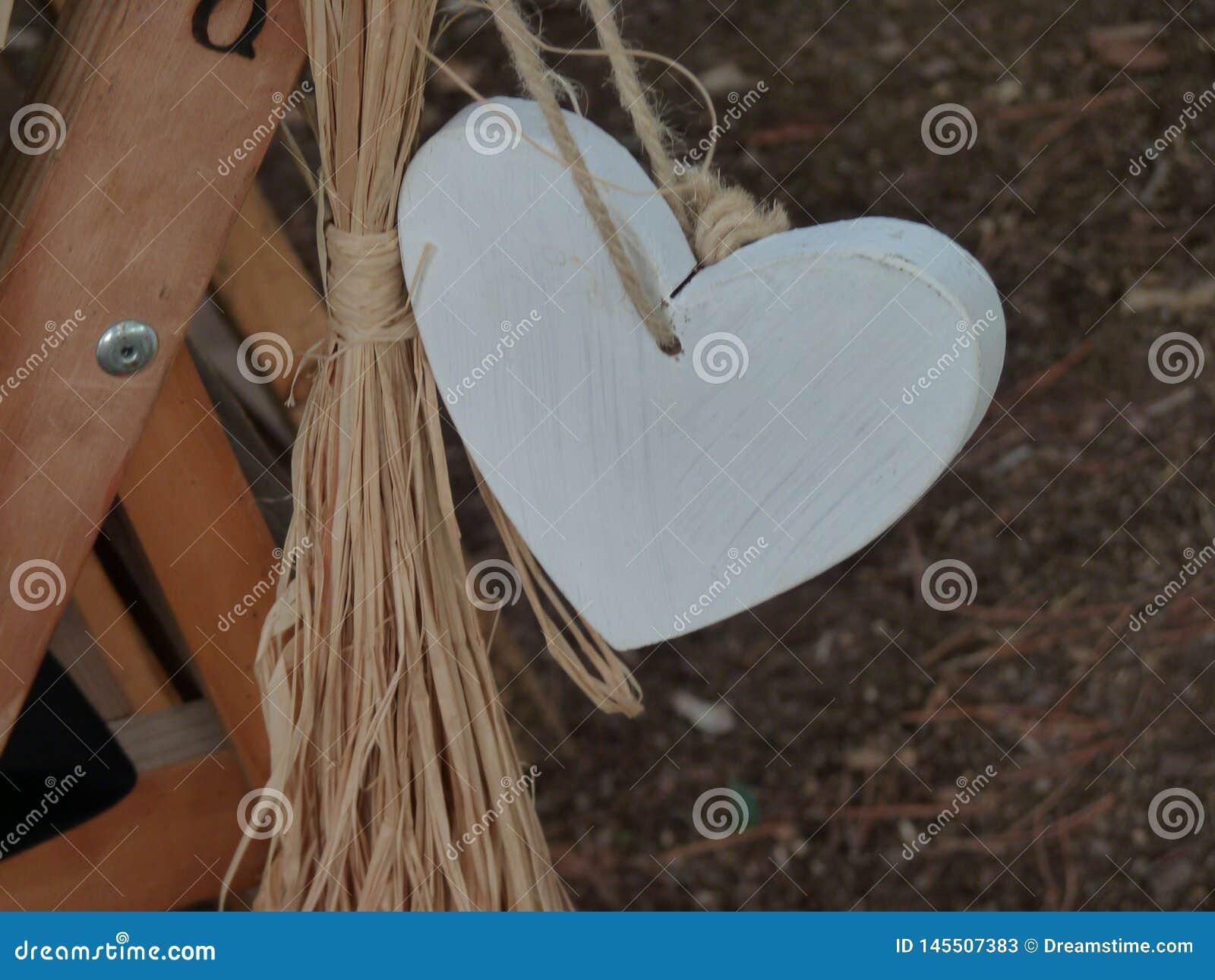 Beautiful white wooden heart