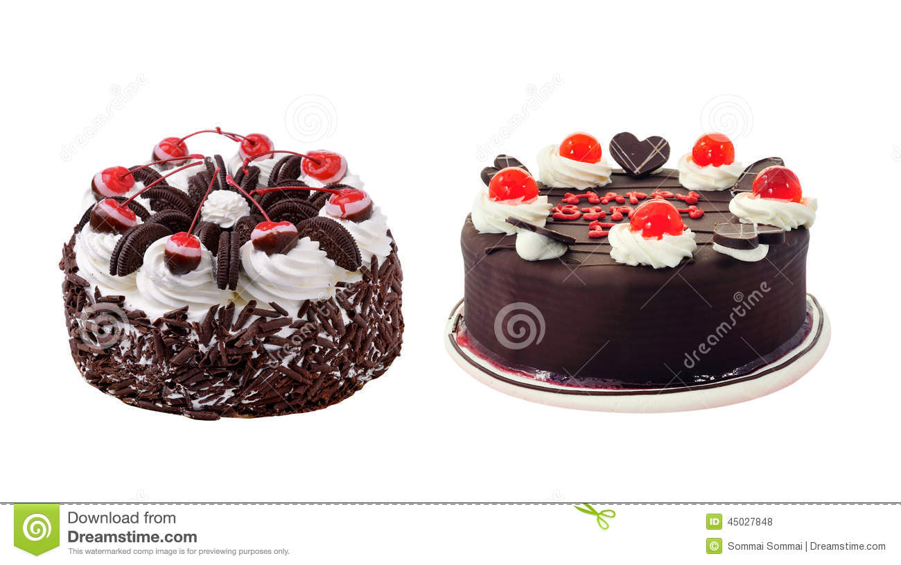 Beautiful Whole Cake On White Background Stock Photo