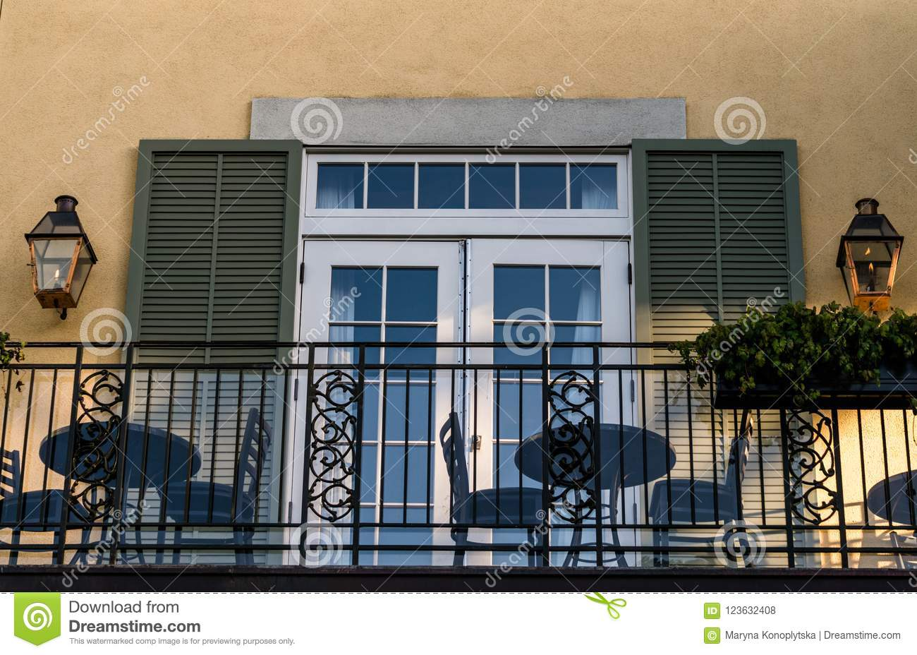 Download beautiful windows of old mansions of the french quarter in new orleans stock photo