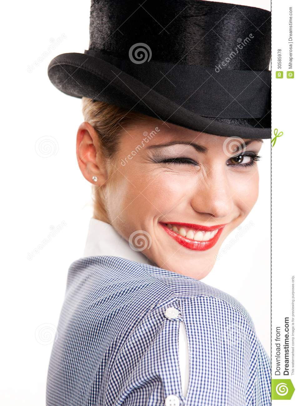 Beautiful Wink - Woman With Hat Stock Photo