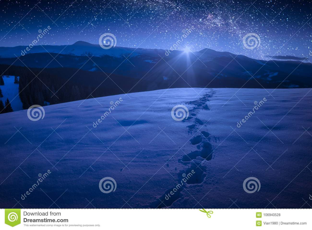 Beautiful winter night in a carpathian mountain valley with many
