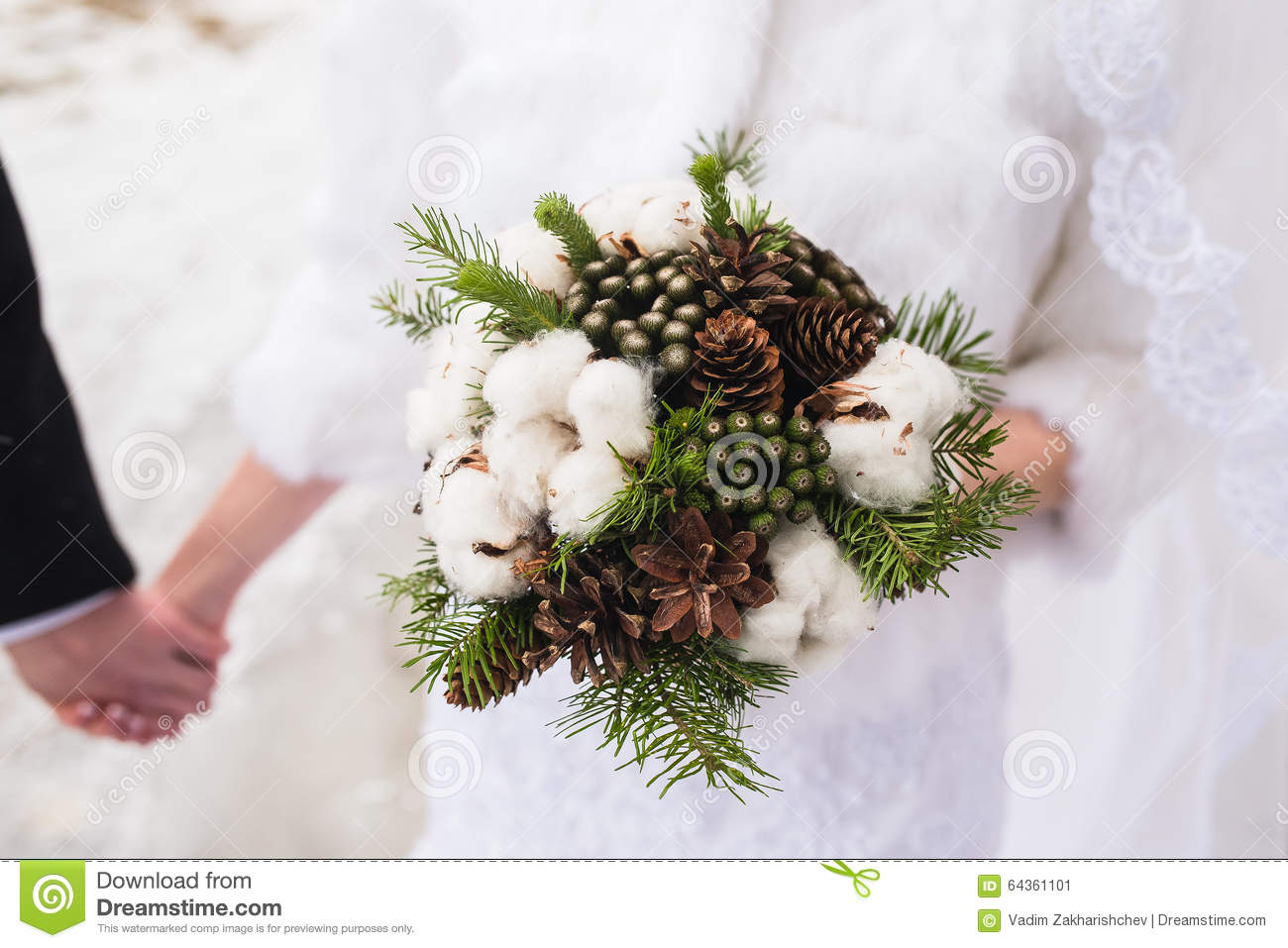 Beautiful Winter Wedding Bouquet With Cones Stock Image Image Of