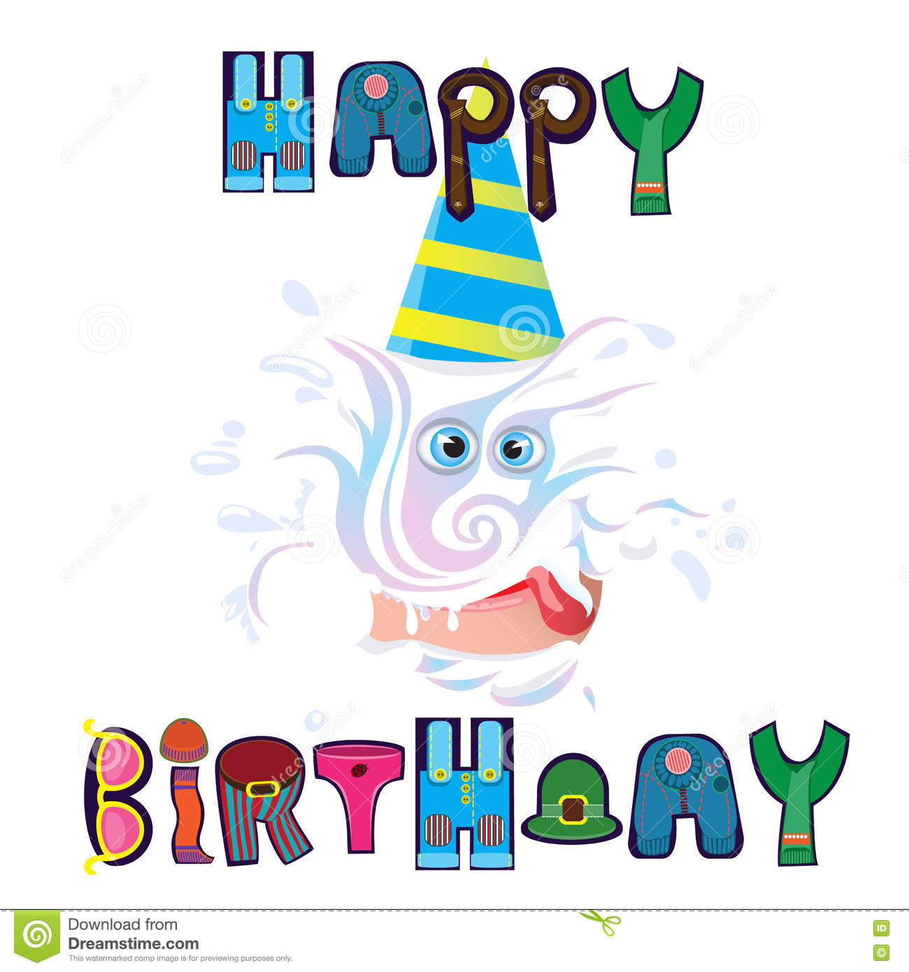 Beautiful Wish Happy Birthday For Any Person Stock Vector