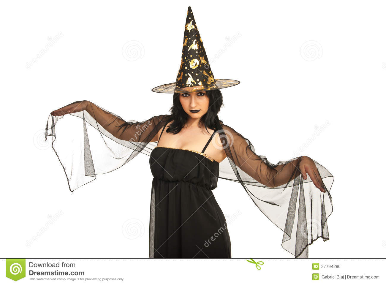Beautiful witch with black veil on hands isolated on white background.