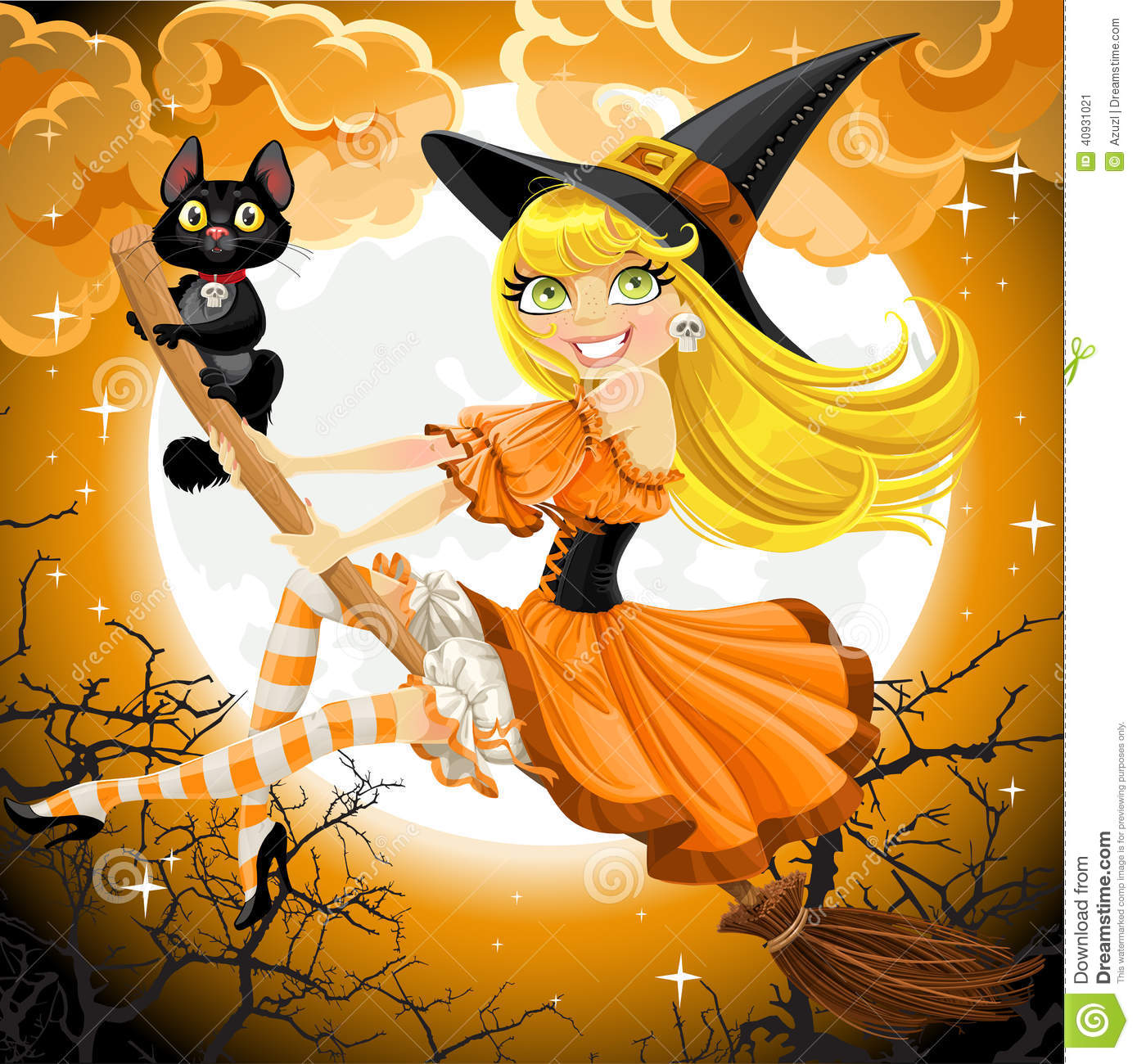Beautiful Witch And Her Black Cat Familiar Flying Stock