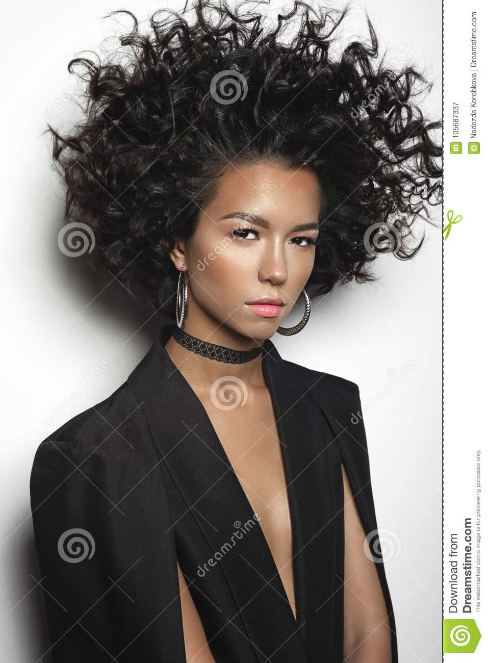 Beautiful Woman With Afro Curls Hairstyle Stock Image Image Of