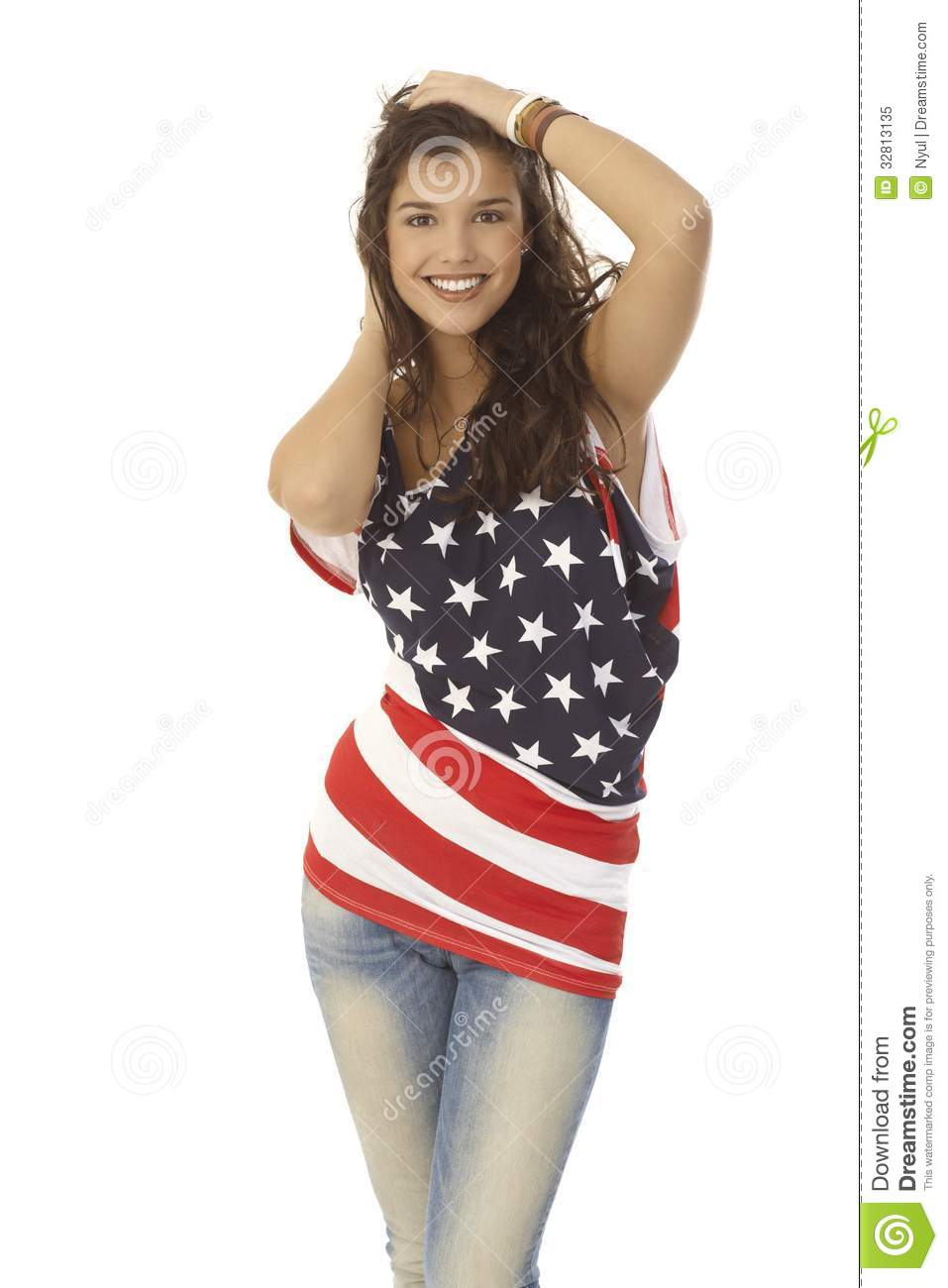 beautiful woman in american flag tshirt royalty free