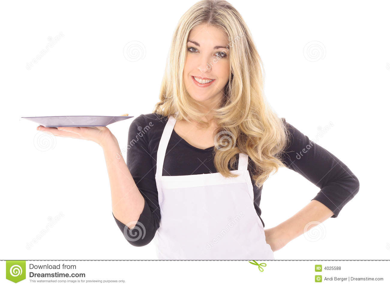 White apron ladies - Beautiful Woman In Apron Holding Your Product Royalty Free Stock Photos