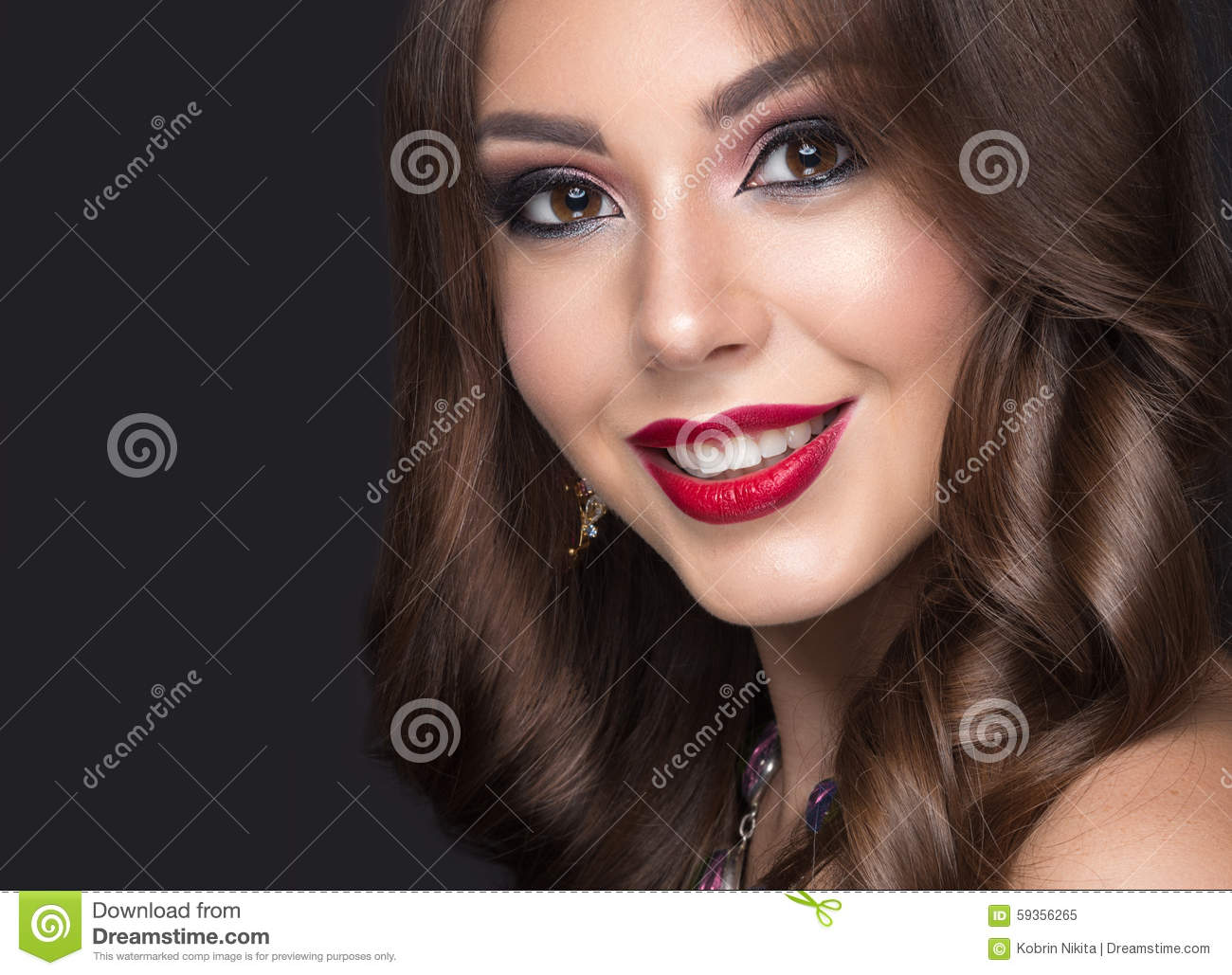 Beautiful Woman With Arabic Make-up, Red Lips And Stock ...