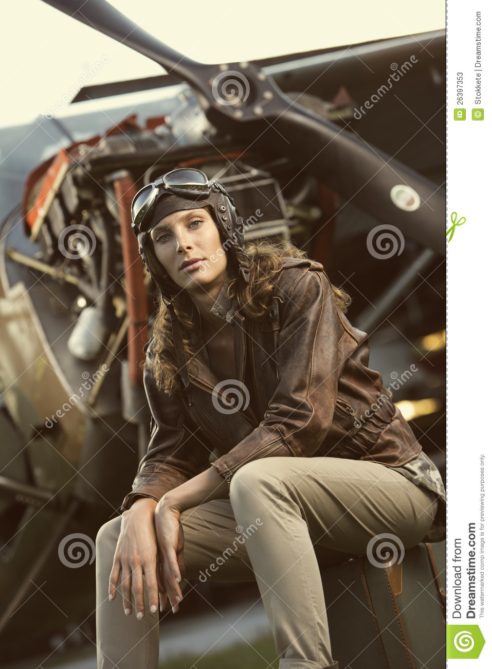 Beautiful Woman Aviator: Vintage Photo Stock Photos - Image: 26397353
