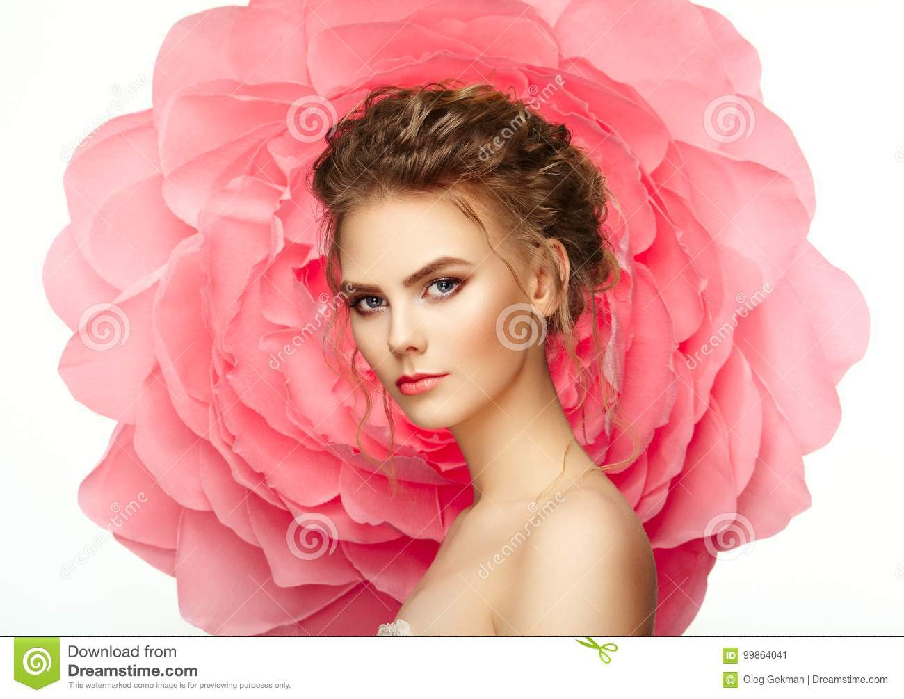 Beautiful woman on the background of a large flower stock image download beautiful woman on the background of a large flower stock image image of lashes izmirmasajfo