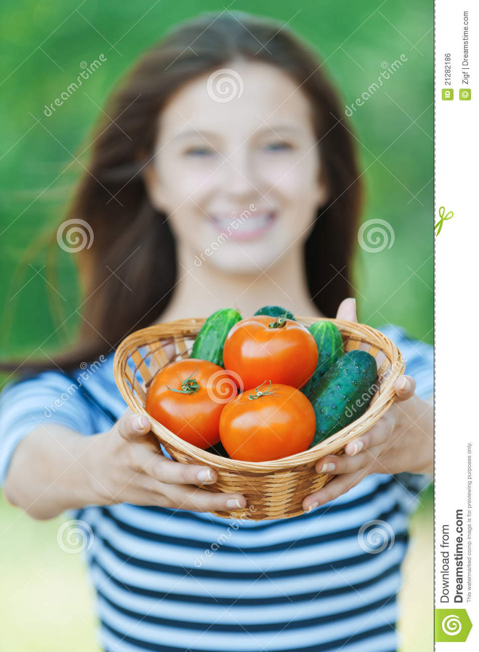 Royalty free stock image beautiful woman basket for Beautiful vegetables