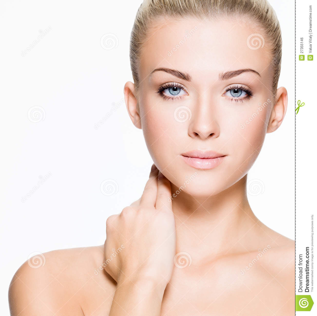 portrait of beautiful young blond woman with clean face   isolated on