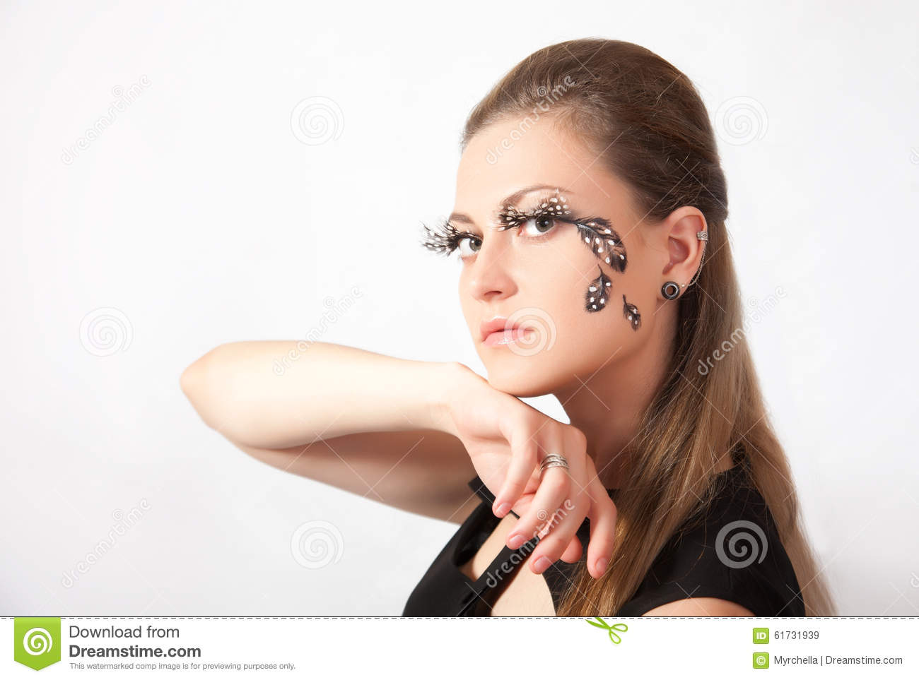 b6da3b8b9a2 Beautiful Woman With Big Eyelashes And Face-art Stock Image - Image ...