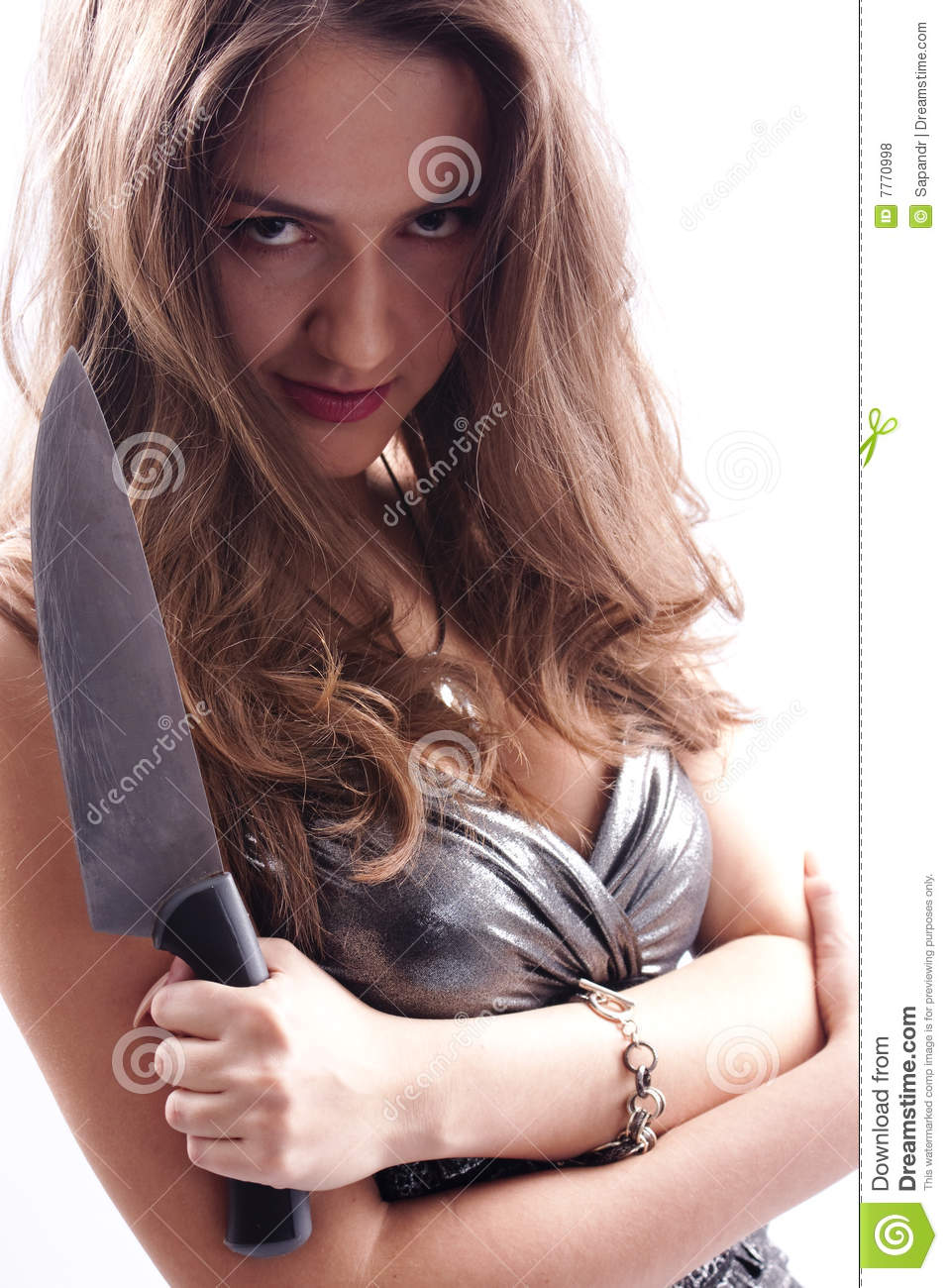 Beautiful woman with big knife stock photo image of for Big beautiful women picture
